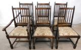 SOLD - Set of Six Antique Style Dark Elm Highback Dining Chairs